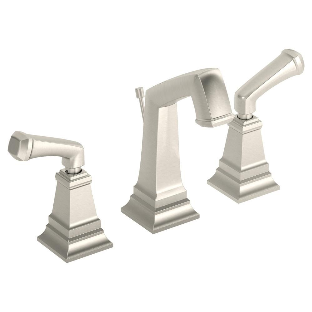 Widespread Single Handle Low Flow Bathroom Faucet With Drain Embly In Satin Nickel