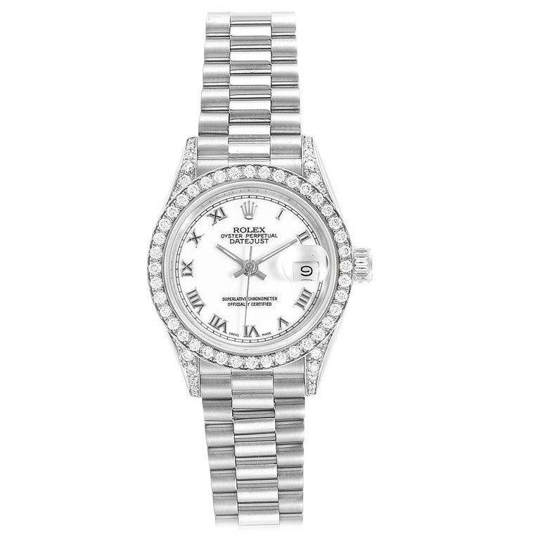 Rolex President Datejust White Gold Sodalite Diamond Ladies Watch 69159 #rolexwatches