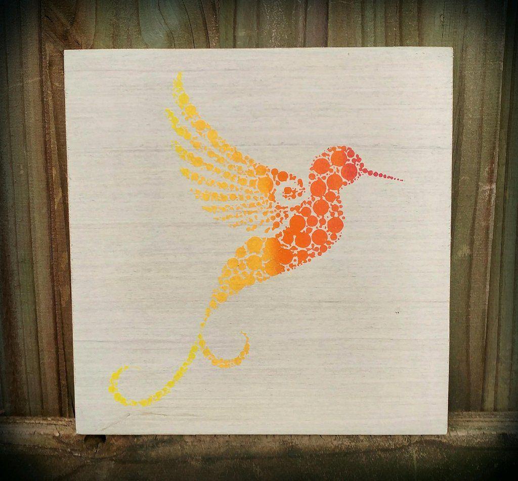 Handpainted birch wood sign hummingbird wall decor for nursery