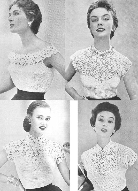 Blouses Collection 4 Vintage Crochet Patterns PDF by annalaia ...