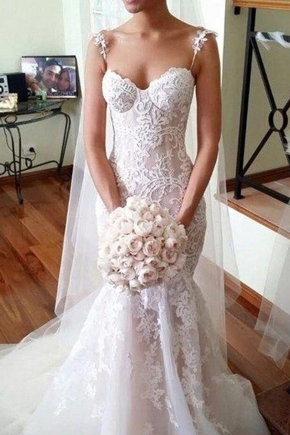 701d7c1f19cf Mermaid Style Lace Spaghetti Straps Sleeveless Court Train Wedding Dress