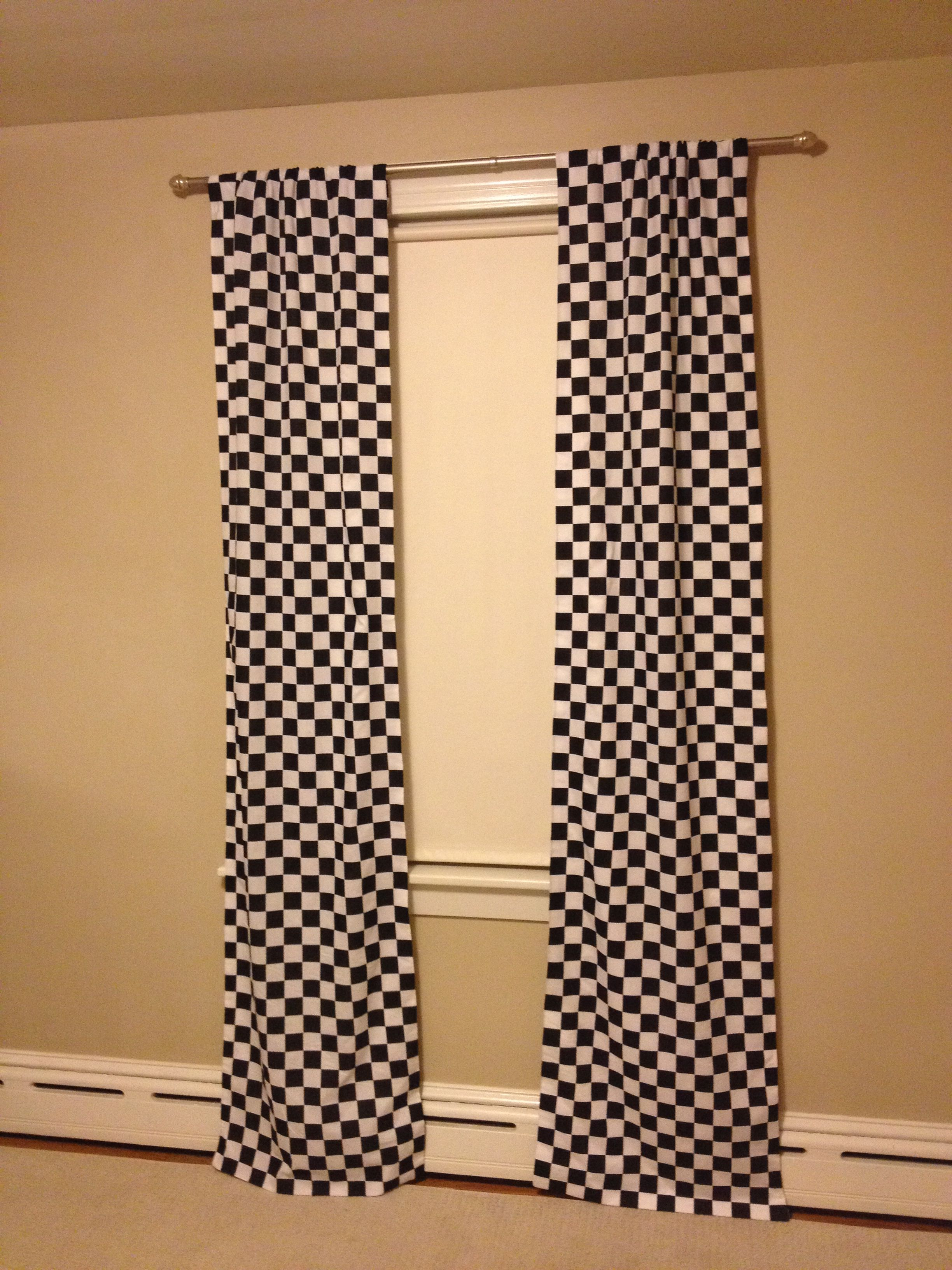 No Sew Checkered Flag Curtains Just Used An Iron And Some Stitch