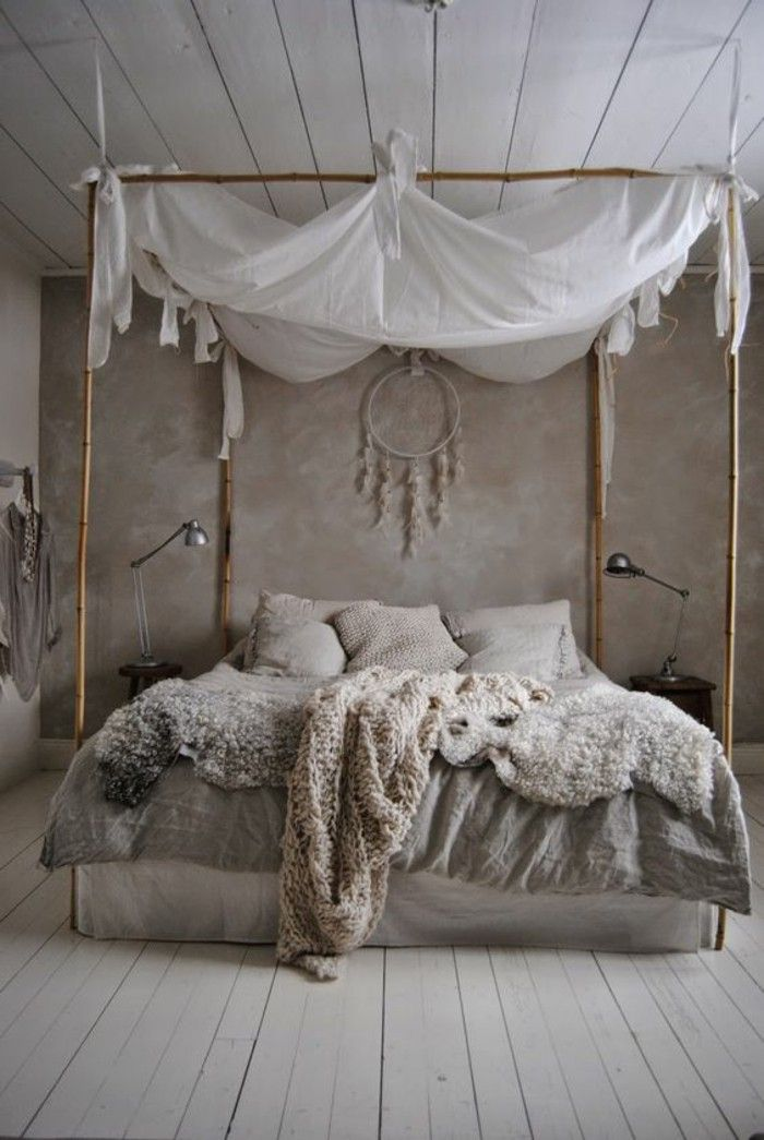 Shabby Chic Furniture Boho Style Bedroom Bamboo Four Poster Bed Sheepskins