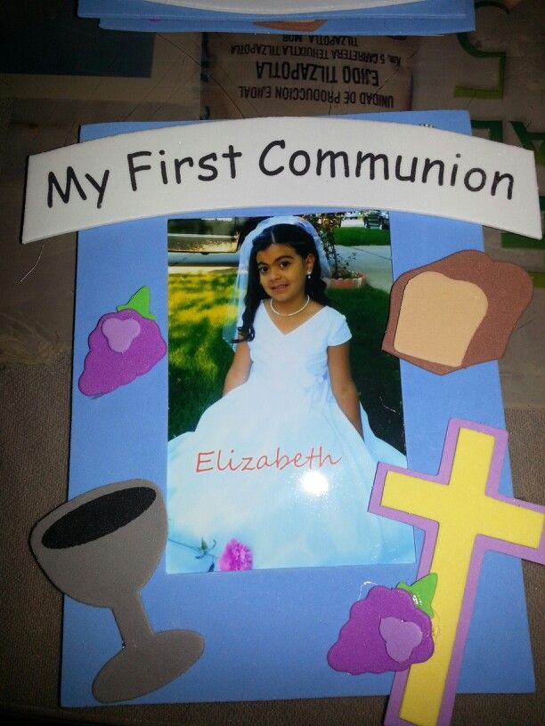 First communion party favors. Frames made by kids. Do a photo shoot ...