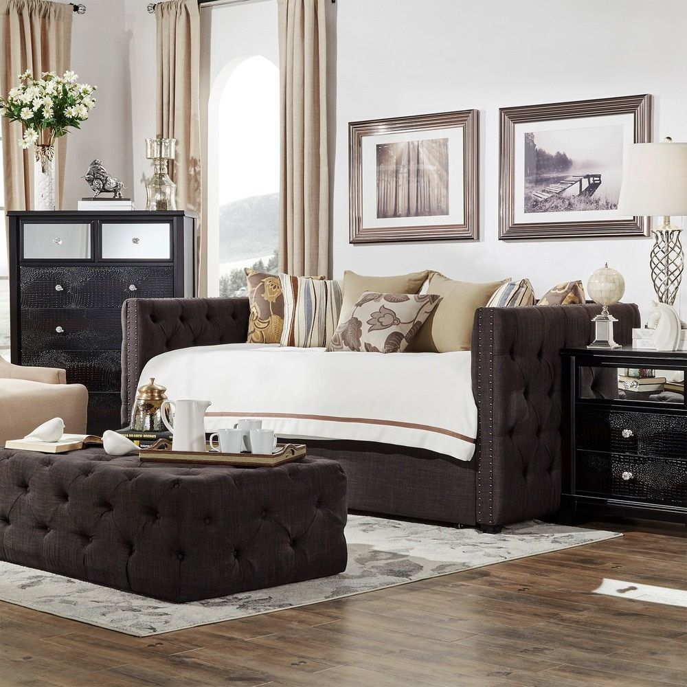 Knightsbridge Tufted Nailhead Chesterfield Daybed and Trundle by ...