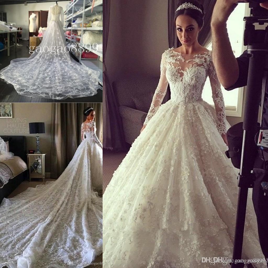Elegant lace ball gown wedding dress bridal gowns vintage