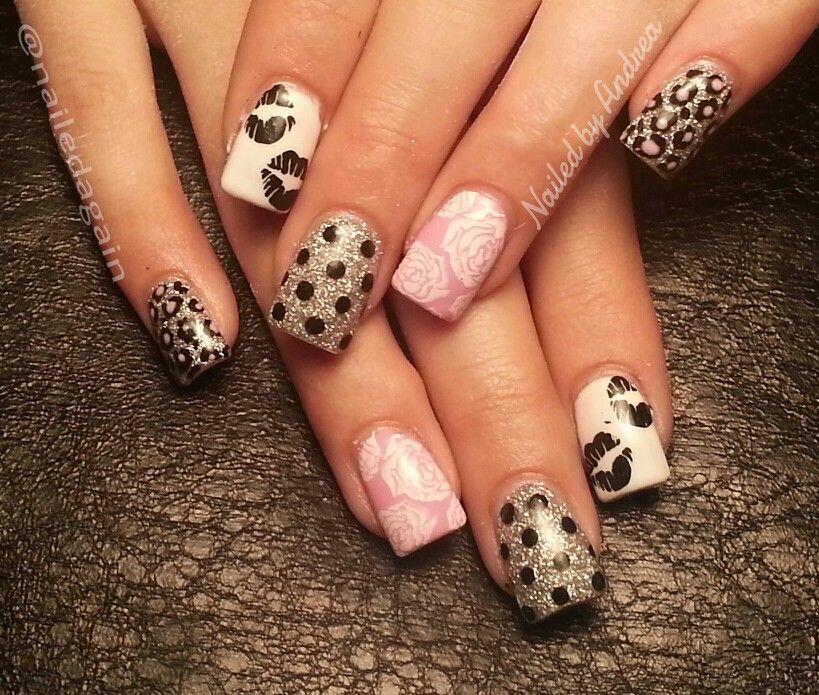 Black kisses | Acrylic Nails ♡ | Pinterest | Kiss and Nail nail