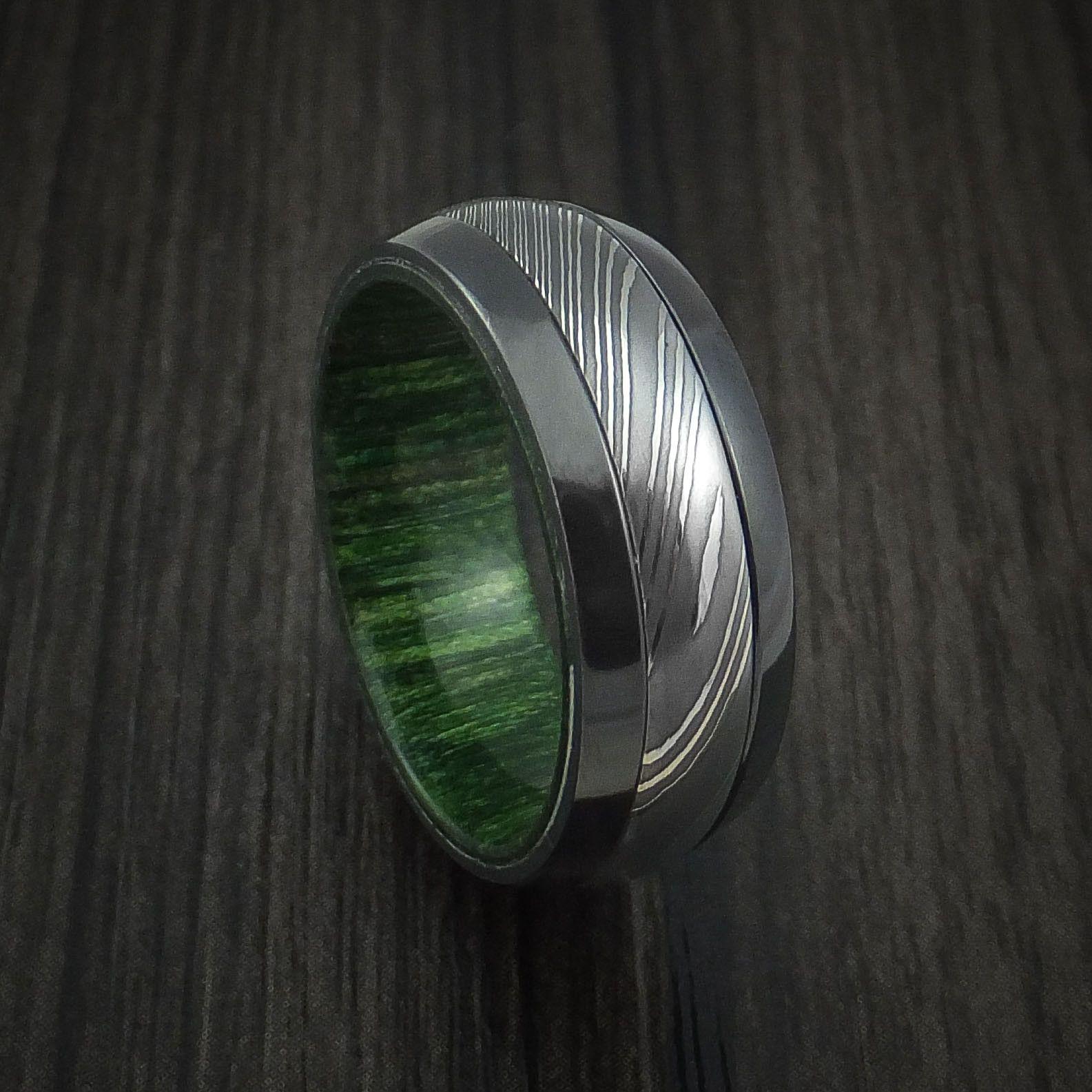 Black Zirconium and Damascus Steel Ring with Jade Wood Hardwood