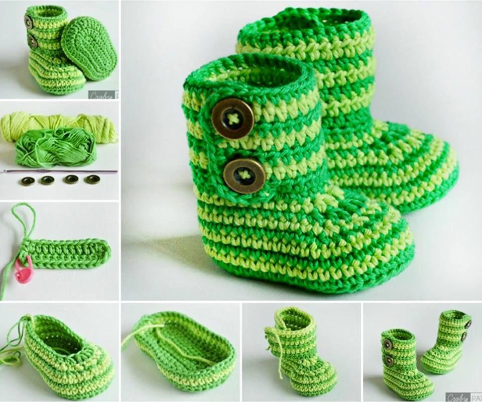 Knitted Striped Baby Booties Pattern | Babyschühchen, Häkeln und ...
