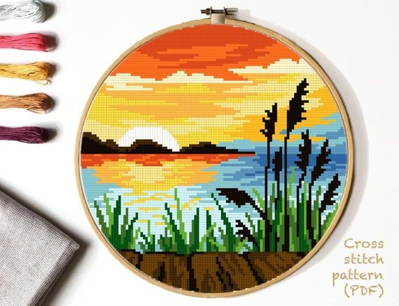 Landscape Cross Stitch Pattern, lake counted cross stitch chart, river, sunset cross stitch, hoop art, embroidery, instant PDF