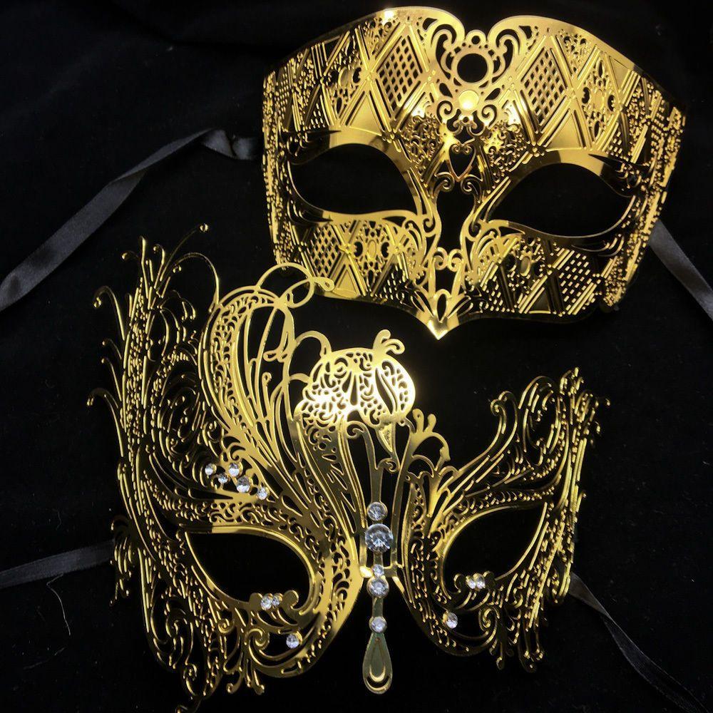 Men Women Couple Black Laser Cut Filigree Mask and Silver Venetian Mask New