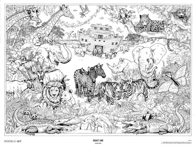 NOAHs ARK Doodle Art Colouring Poster This Was Uploaded By Doodleartposters FREE Jpg