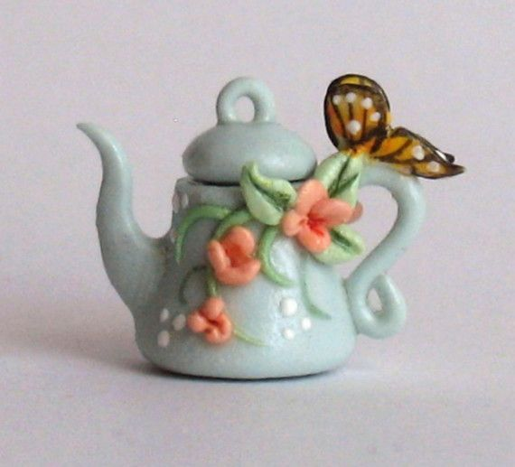 Miniature PEACH FLOWERS TEAPOT WITH by ArtisticSpirit on Etsy