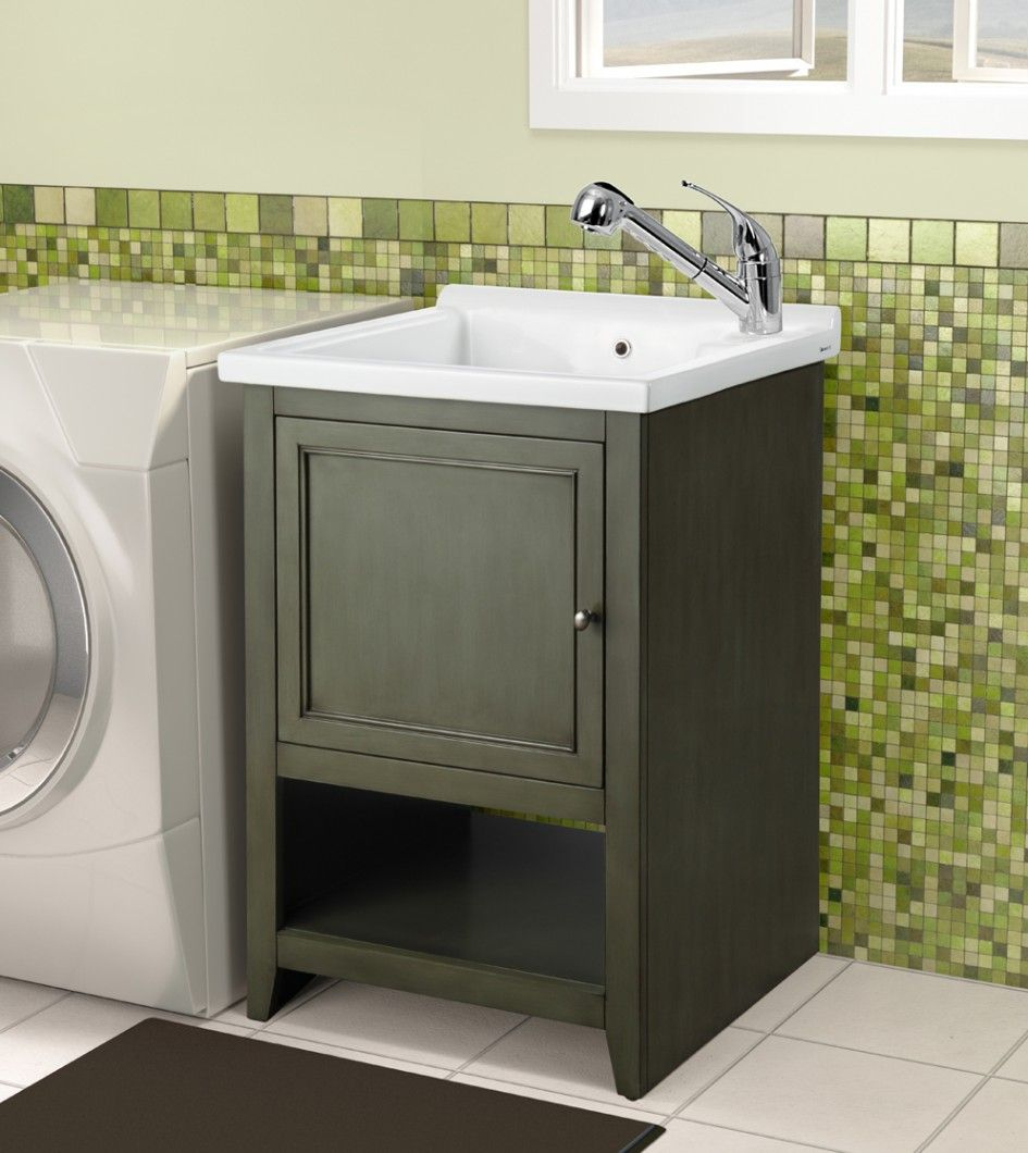 enthralling garage utility sink with cabinet with delta pull out faucet in polished chrome also mosaic