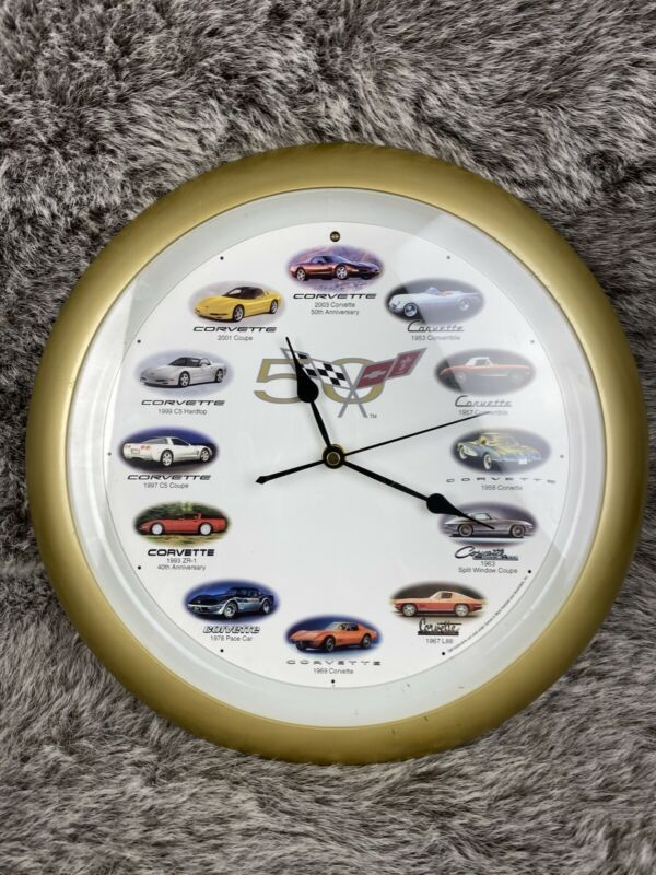 Corvette 50th Anniversary Wall Clock Sound Doesnt Work But Clock Does Wall Clocks Ebay Link In 2020 Face Home Wall Clock Black Wall Clock