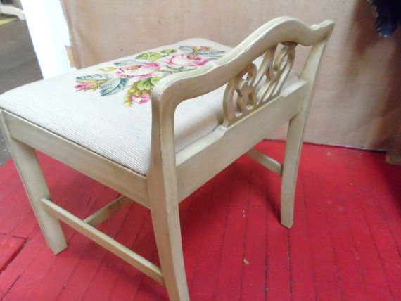 Grey Gray Needlepoint Vanity Bench Seat Low Back Chair Stool ...