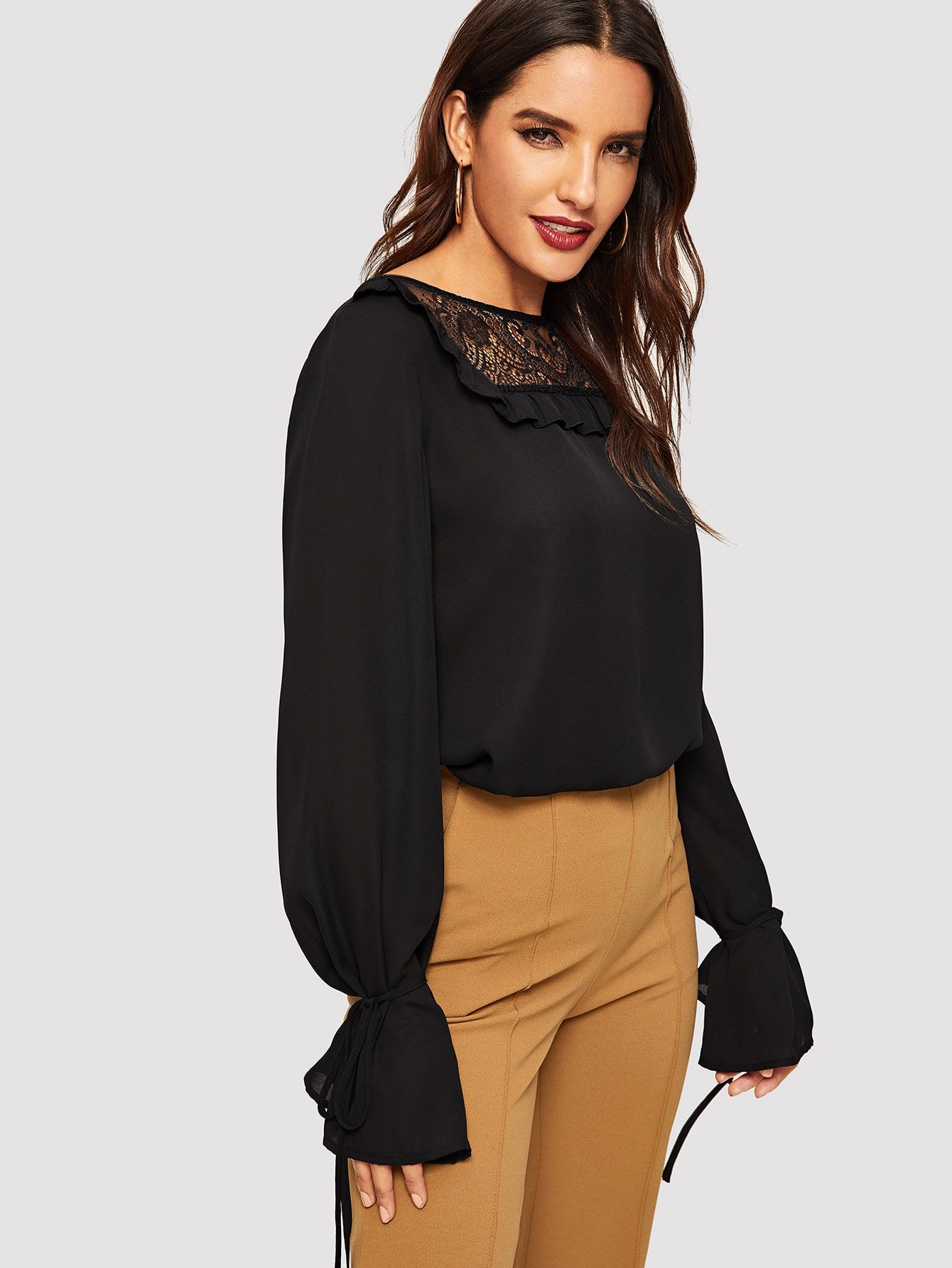 a5f87f103 Elegant Ruffle and Contrast Lace and Sheer and Knot Plain Top Regular Fit  Boat Neck Long Sleeve Flounce Sleeve Pullovers Black Regular Length Ruffle  Detail ...