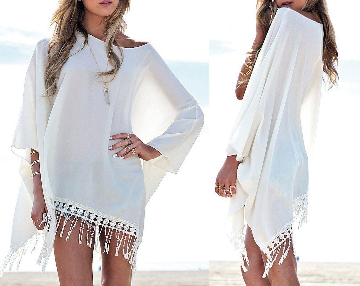 housse de caftan plage cover up femmes cadeau pour son maillot de bain robe blanche de robe d. Black Bedroom Furniture Sets. Home Design Ideas