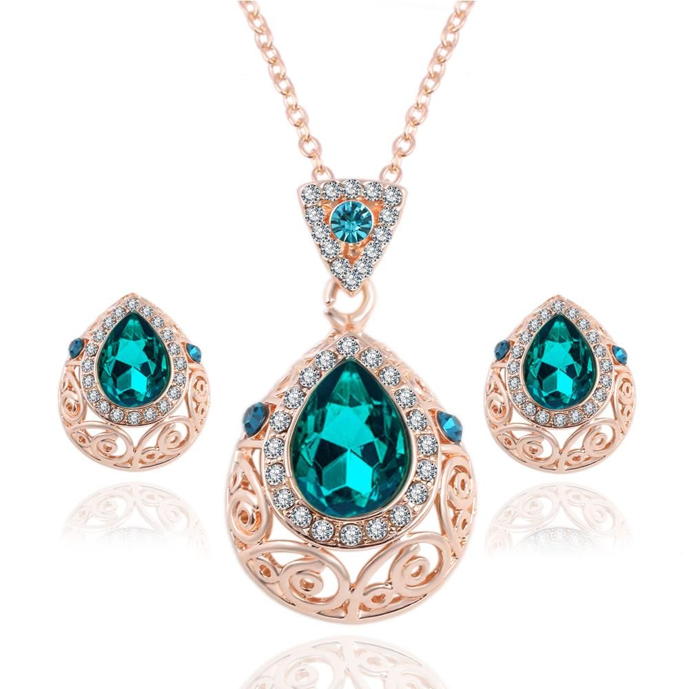 Bridal Jewelry Austrian Crystal Chain Sets Green Gem Pendant Necklace Earrings Set For Women Conjuntos