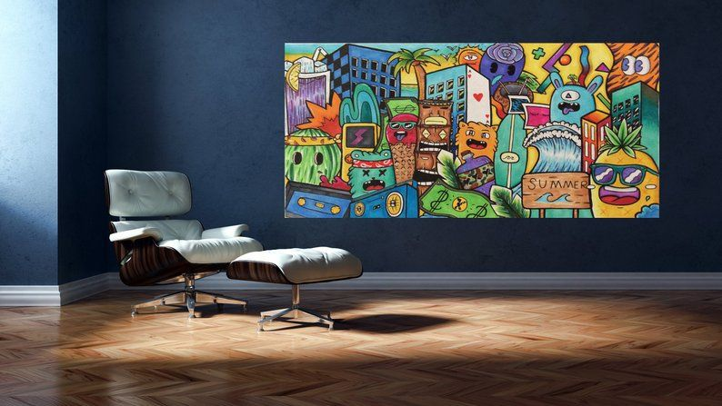 Colorful Wall Art Extra Large Wall Art Graffiti Art Canvas Etsy