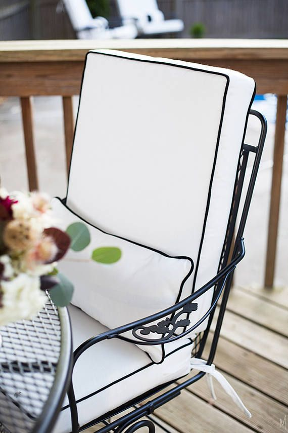 White fabric black piping welt Designer Outdoor Cushion Cover