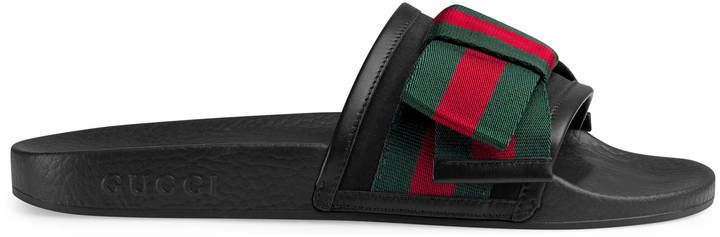 fc7cf0a61133d1 Gucci Satin slide with Web bow