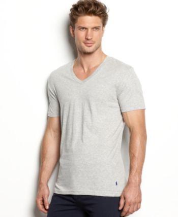 d0fdfbad Polo Ralph Lauren Men's Undershirt, Slim Fit Classic Cotton V-Neck 3 Pack -  Black/Grey XL