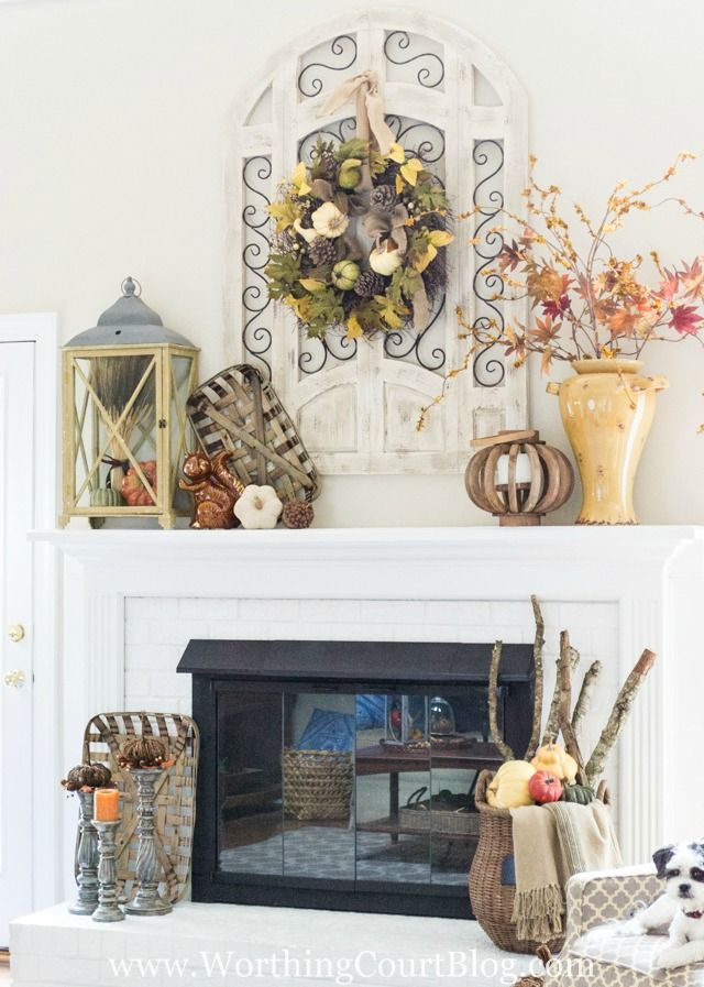 Fall mantel with rustic and farmhouse touches