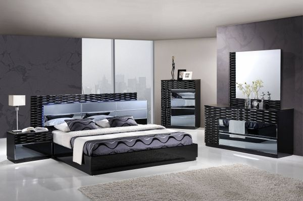 Manhattan Black High Gloss MDF Wood Master Bedroom Set   Standard ...