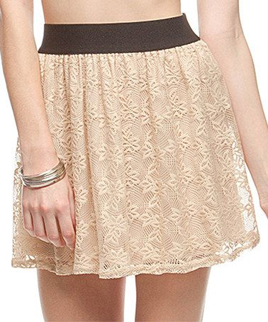 Look what I found on #zulily! Taupe & Black Lace Silk-Blend Skirt by Ya Los Angeles #zulilyfinds