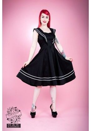 ef0a0a9e36 Sailor Girl Black Cocktail Dress AVAILABLE   Modern Grease Clothing and  Accessories Co.