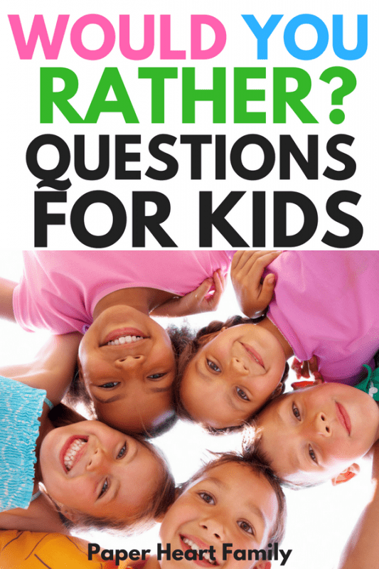 If you want to get your kid's laughing, there's nothing that will guarantee the giggles more than some silly questions. These Would You Rather questions for kids are super funny and are great for any occasion. We love using them on road trips. Comes with a free printable, too! #jokes #kids