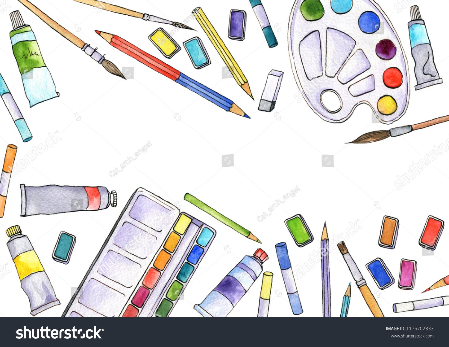 Watercolor Artistic Workspace Hand Drawn Creative Background Art