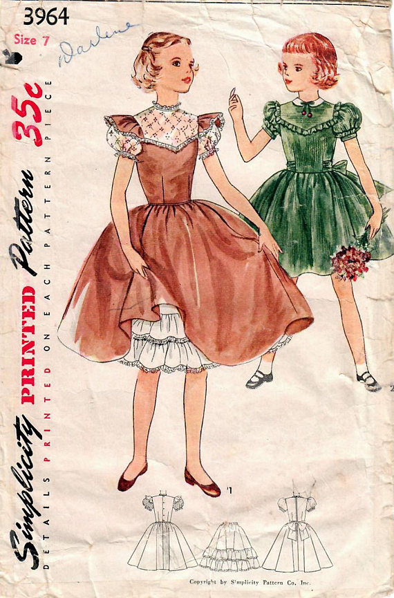 1950\'s Simplicity 3964 Girl\'s party dress pattern | sewing patterns ...