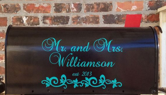 Mr. and Mrs. Wedding Card Mailbox Decal -  32 Colors Available. $10.00, via Etsy.