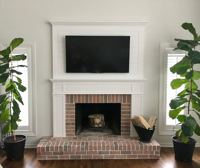 Shiplap Fireplace With Brick Surround Rustic Farmhouse Tile Tv Mounted Above