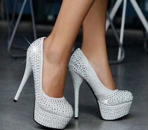 ecf8f13e422 White sparkly studs heels | Heels, Pumps and more Heels | Wedding ...