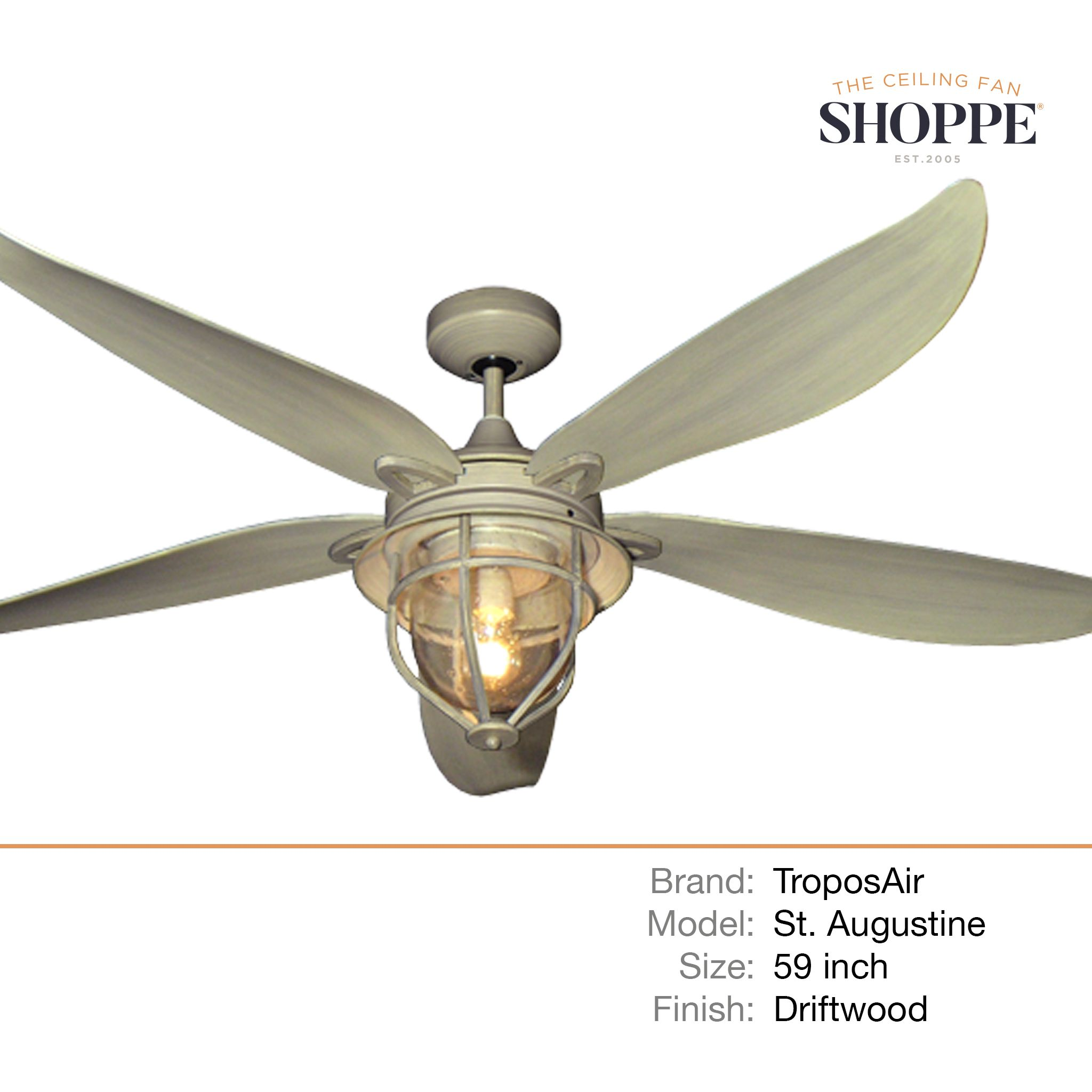 60 Inch St Augustine Ceiling Fan By Troposair Driftwood In 2020