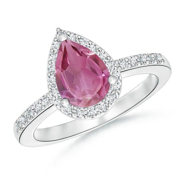 Angara Prong Set Oval Pink Tourmaline Halo Ring in Platinum iuj7itep