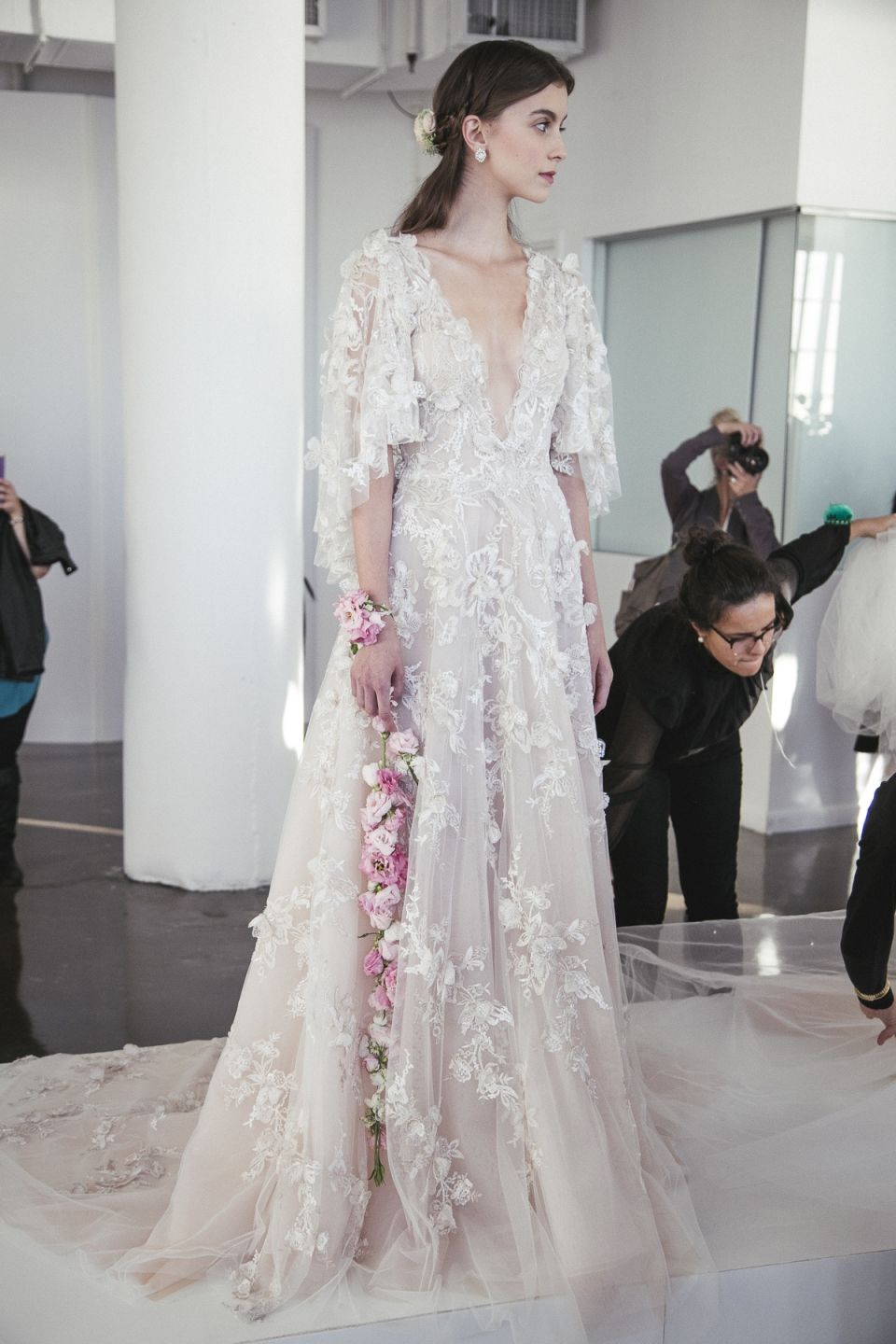 83eeea8917d Ethereal Gowns / Backstage / Marchesa Fall 2017 Bridal / Photo The LANE