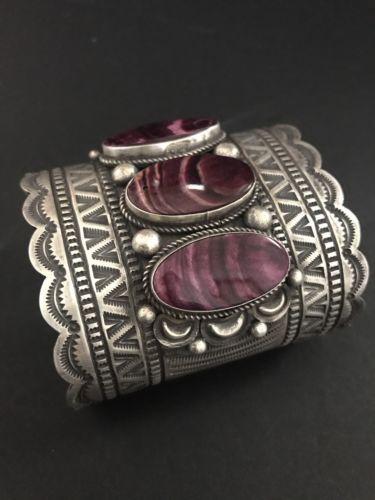 Native American Pulsera de plata esterlina púrpura Spiney Ostra Bj