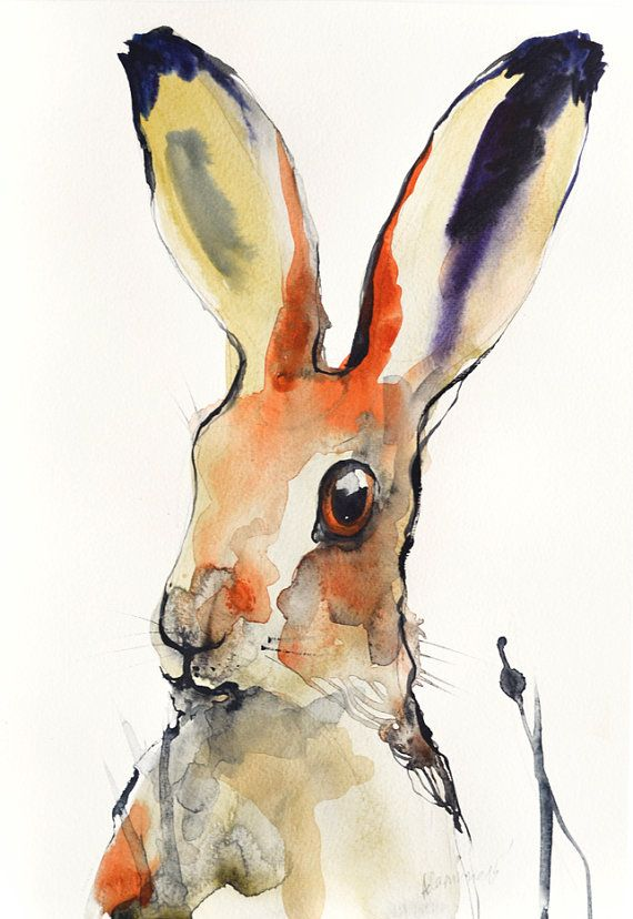 Hare original abstract colorful watercolor by AlisaAdamsoneArt