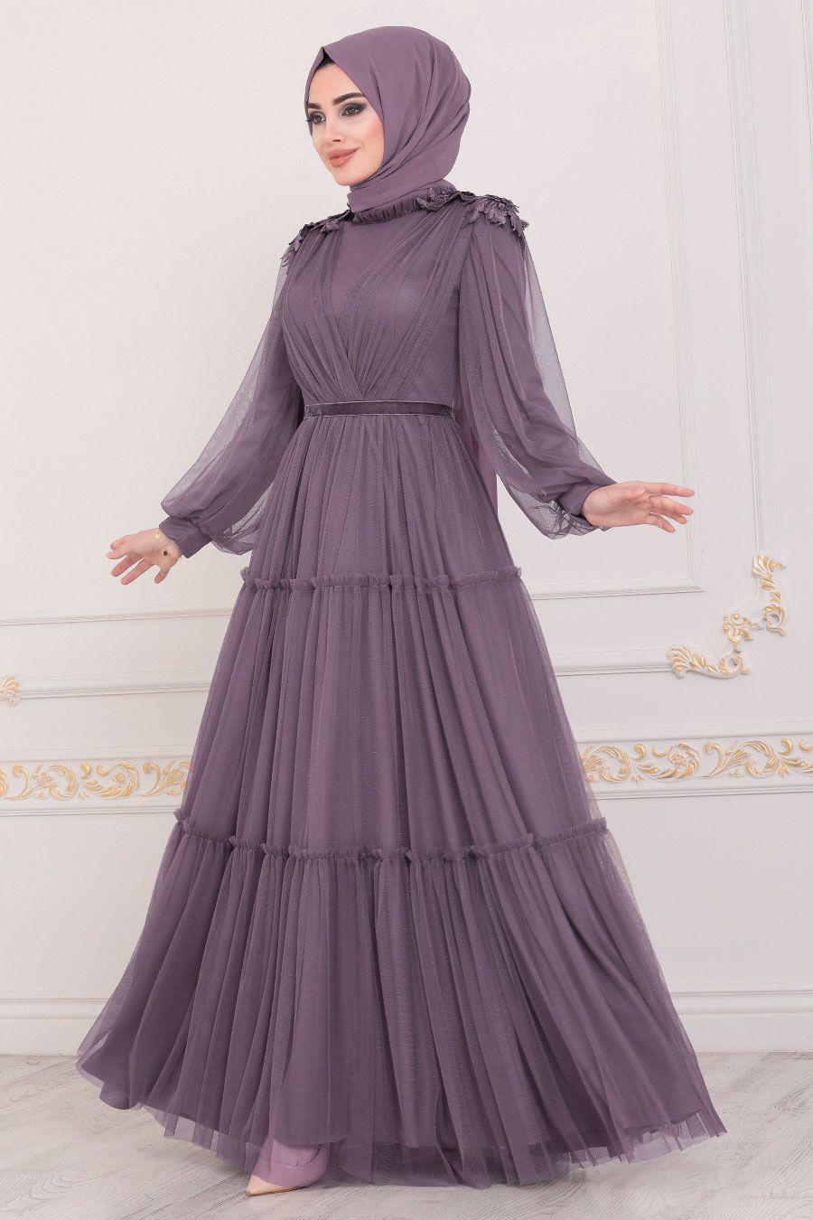 Tesetturlu Abiye Elbise Omuzlari Detayli Koyu Lila Tesettur Abiye Elbise 4072klila Tesetturisland Com 2020 Islami Giyim Elbise Ziyafet Elbiseler