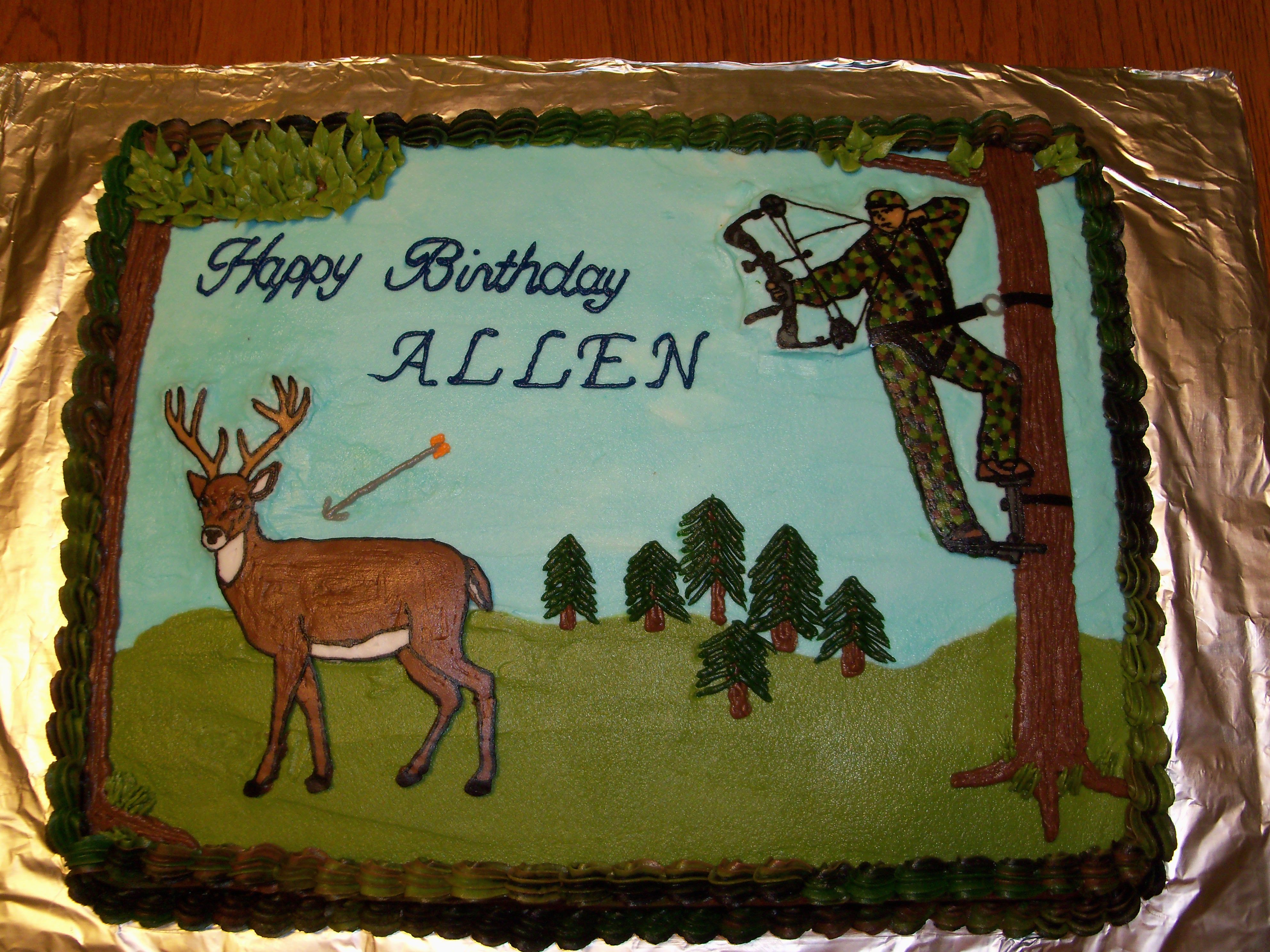 Bow hunting cake My husband requested a cake with camo