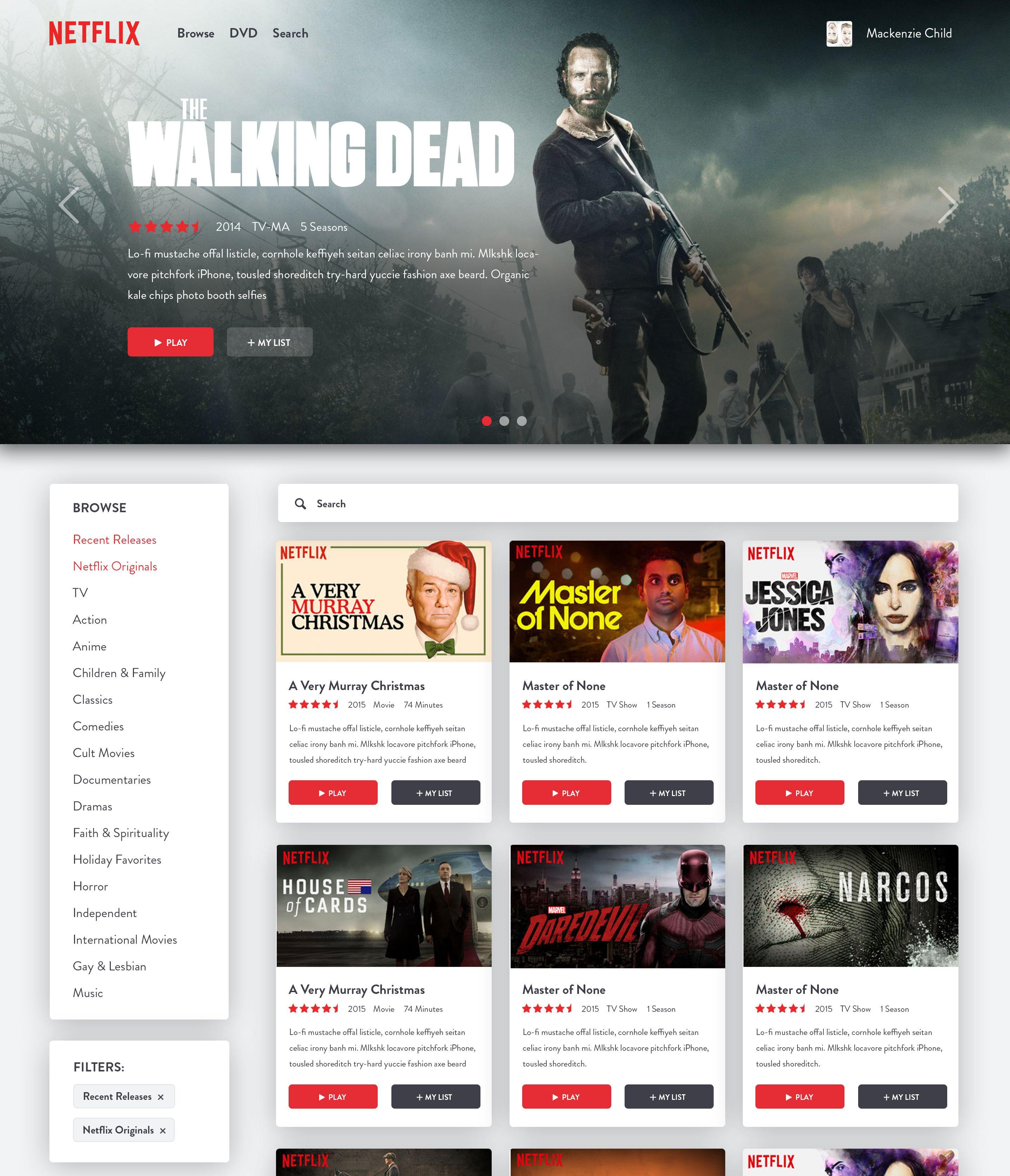 Netflix Redesign Jpg By Mackenzie Child News Web Design Web Design User Interface Web Design
