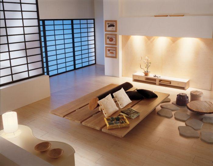 kleines wohnzimmer einrichten zen japanischer stil holz couchtisch ...