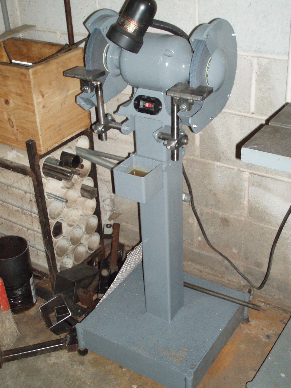Bench Grinder Safety Scale Part - 40: Pedestal Grinder By Arlo Kilmer -- Homemade Pedestal Grinder Constructed  From Steel Plate, Tubing