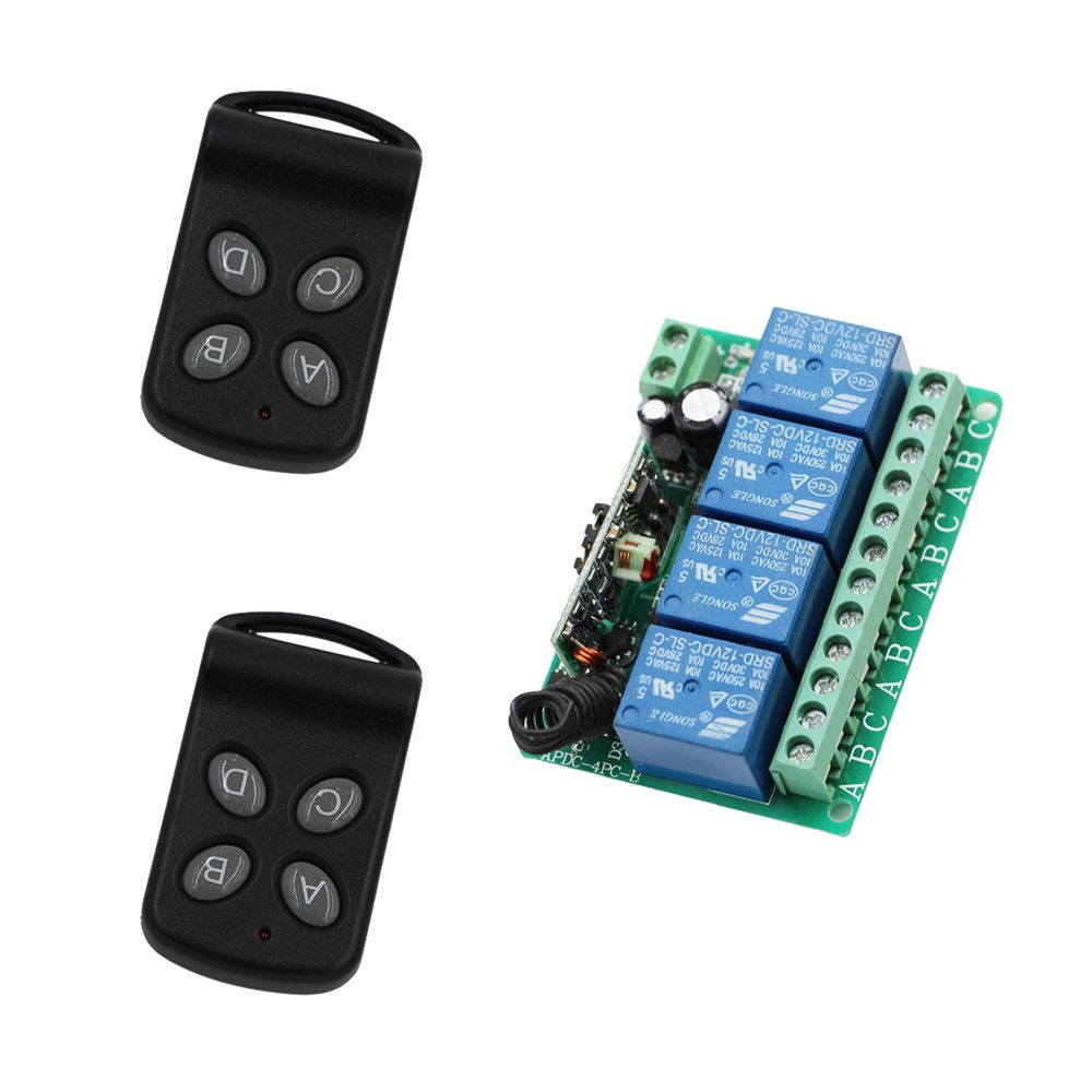 DC12V 10A 4 Channel RF Wireless Remote Control Relay Switch