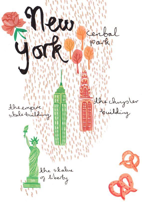 New York A4 Kunstdruck Poster Von Emmablock Auf Etsy New York