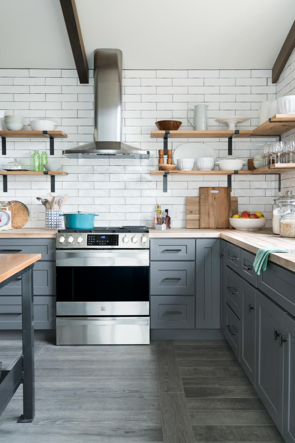 the open kitchen at diy network ultimate retreat 2017 has an industrial style that highlights